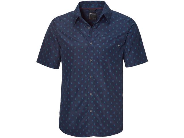 Marmot Lykken Shirt Korte Mouwen Heren, blauw